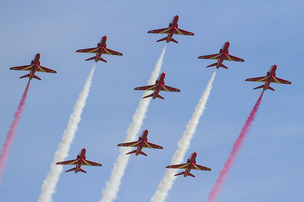 Red Arrows formation Canvas Print by Aviation Prints