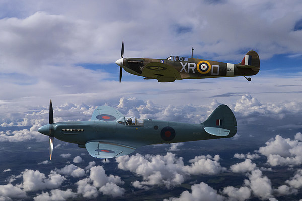 Spitfire Duet Canvas print by Aviation Prints