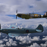 Buy canvas prints of Spitfire Duet by Aviation Prints