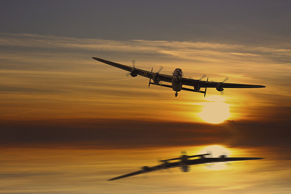 BBMF Lancaster at Sunset Canvas print by Aviation Prints