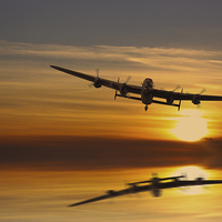 Buy canvas prints of BBMF Lancaster at Sunset by Aviation Prints