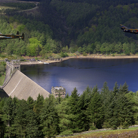 Buy canvas prints of  Lancasters over Derwent Dam by Aviation Prints