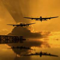 Buy canvas prints of  Lancasters and Sun Rays by Aviation Prints
