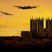 Buy canvas prints of Lancasters over Lincoln by Aviation Prints