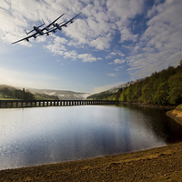 Buy canvas prints of  Lancaster bombers over Ladybower by Aviation Prints