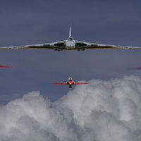 Buy canvas prints of Vulcan and Red Arrows montage by Ken Brannen