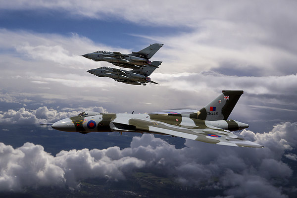 Vulcan Bomber XH558 and Tornados Canvas Print by Ken Brannen