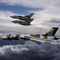 Buy canvas prints of  Vulcan Bomber XH558 and Tornados by Ken Brannen