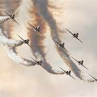 Buy canvas prints of Red Arrows Farnborough air show 2008 by Aviation Prints