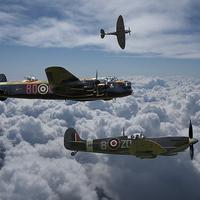 Buy canvas prints of  Lancaster with Spitfire escort by Ken Brannen