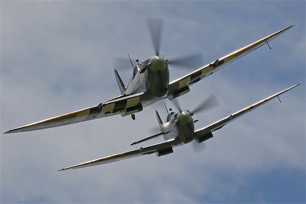 Two Spitfires in formation Canvas print by Aviation Prints