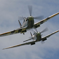 Buy canvas prints of Two Spitfires in formation by Aviation Prints