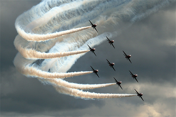 Red Arrows 2 Canvas print by Aviation Prints