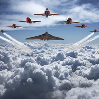 Buy canvas prints of  Vulcan and Red Arrows farewell flight by K Brannen