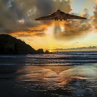 Buy canvas prints of  Vulcan Bomber Cornwall sunset by K Brannen