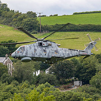 Buy canvas prints of Royal Navy Merlin low level by Oxon Images