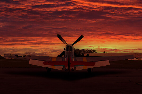 P51 Mustang Sunset Framed Mounted Print by Oxon Images