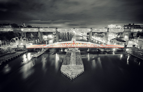 Swing Bridge, red at night. Canvas print by Toon Photography