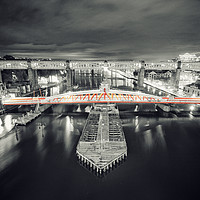 Buy canvas prints of Swing Bridge, red at night. by Toon Photography