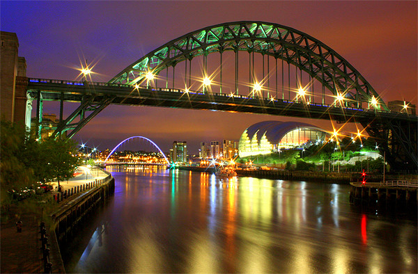 Tyne Bridge at Night Canvas print by Toon Photography