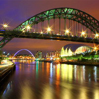 Buy canvas prints of Tyne Bridge at Night by Toon Photography
