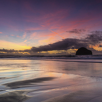 Buy canvas prints of Trebarwith Strand Sunset by David Wilkins