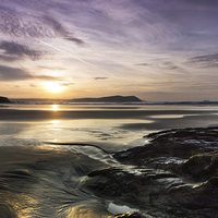 Buy canvas prints of Polzeath Sunset by David Wilkins