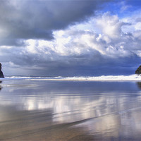 Buy canvas prints of Trebarwith Strand Reflections by David Wilkins