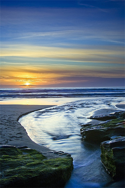 Sunset in the Stream at Trebarwith Strand Canvas print by David Wilkins