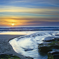 Buy canvas prints of Sunset in the Stream at Trebarwith Strand by David Wilkins