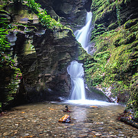 Buy canvas prints of St Nectans Glen Waterfall by David Wilkins