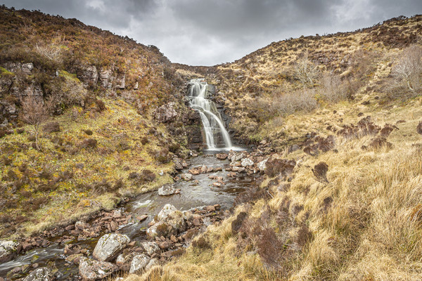 Highland Waterfall Framed Mounted Print by David Hare