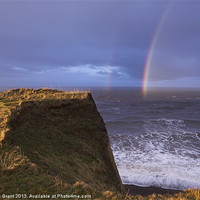 Buy canvas prints of Rainbow out at sea, Peddars Way Coastal Path, Sher by Liam Grant