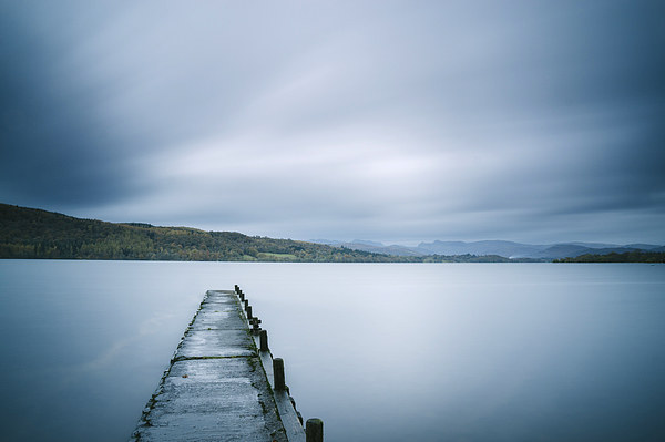 Jetty on Lake Windermere with Langdale Pikes beyond. Canvas print by Liam Grant