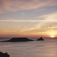 Buy canvas prints of Worms Head at sunset. Wales, UK. by Liam Grant