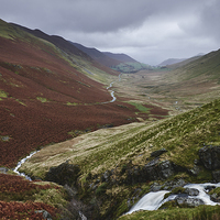 Buy canvas prints of Moss Force waterfall and rain over Keskadale valle by Liam Grant