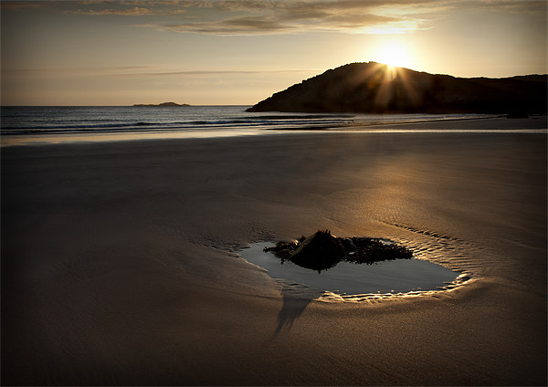 WHITESANDS SUNSET AND TIDAL POOL Framed Print by Anthony R Dudley (LRPS)