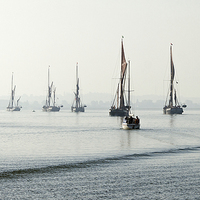 Buy canvas prints of Barges in the mist by Howard Corlett