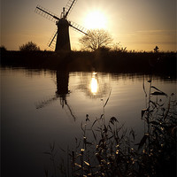 Buy canvas prints of Windmill on river Thurne by Simon Wrigglesworth