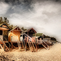 Buy canvas prints of Beach Huts at Wells by Simon Wrigglesworth