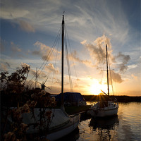 Buy canvas prints of Broads Sunset by Simon Wrigglesworth