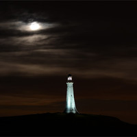 Buy canvas prints of Super Moon & Hoad Monument at Night by Paul Leviston