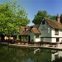 Buy canvas prints of The Three Horseshoes at Winkwell by graham young