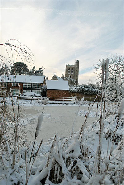 The Church and Village Pond, Wingrave. Print by graham young
