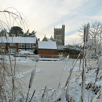Buy canvas prints of The Church and Village Pond, Wingrave. by graham young