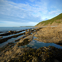 Buy canvas prints of Rock Pools at Bucks Mills  by graham young