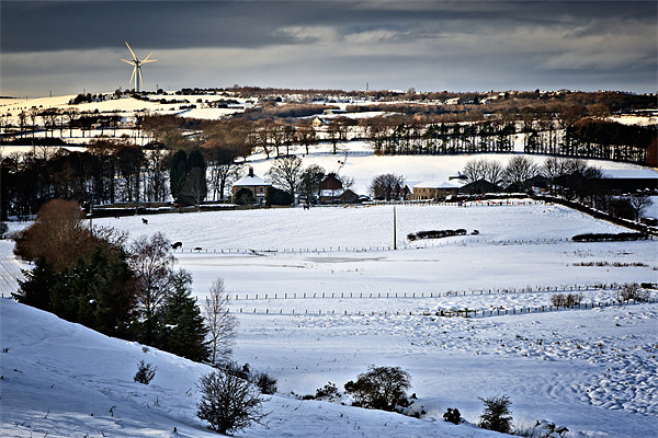 Winter Fields, Farm's and Turbines Framed Print by David Lewins