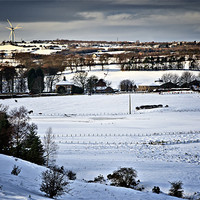 Buy canvas prints of Winter Fields, Farm's and Turbines by David Lewins