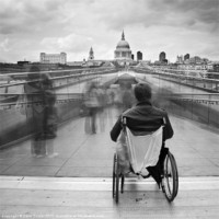 Buy canvas prints of Invisible ..... Millennium Bridge, London by Dave Turner