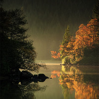 Buy canvas prints of Loch Ard Autumn Light by David Mould